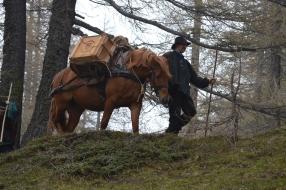Trekking mit Saeumern und Wanderleiter